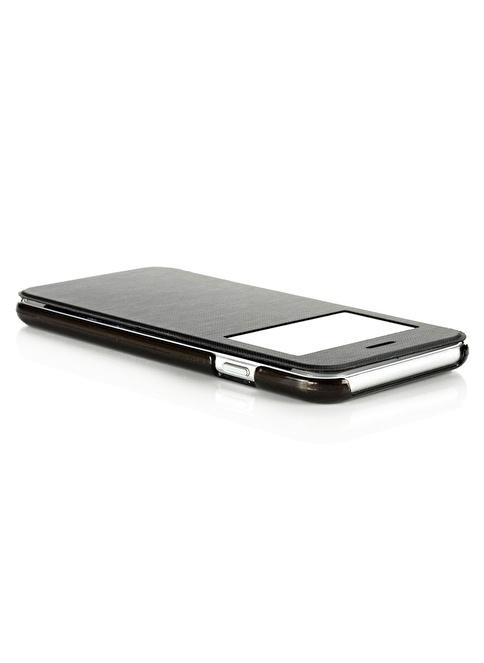 Microsonic View Cover Delux Kapaklı iPhone  6 Plus (5.5'') Kılıf Siyah Renkli